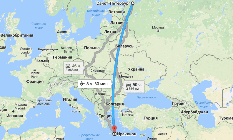 Карта перелета СПб - Крит