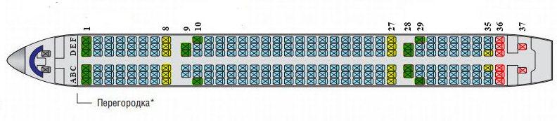 ТУ-204 места в салоне