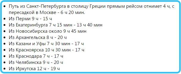 Время перелета до Крита из разных городов России