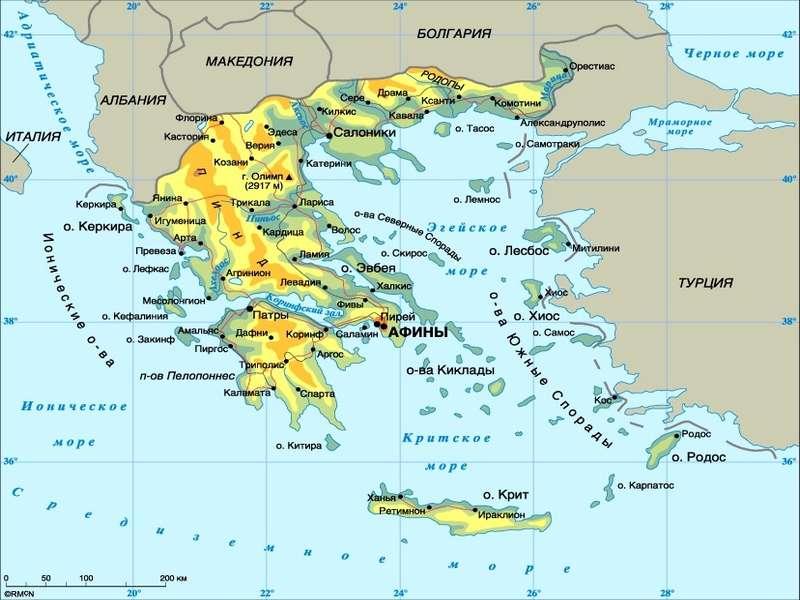 карта греции и острова Крит