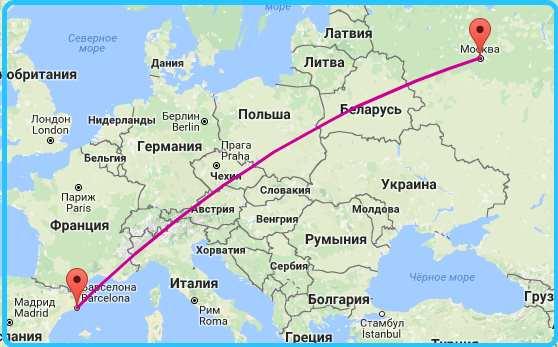 карта перелета Москва — Барселона