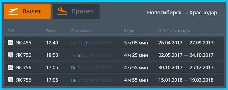 Рейсы до Краснодара расписание