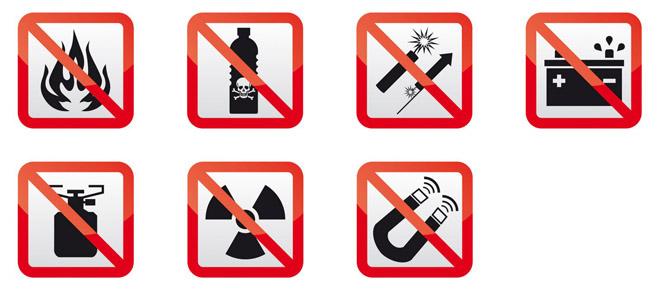 Запрещенные предметы в самолете
