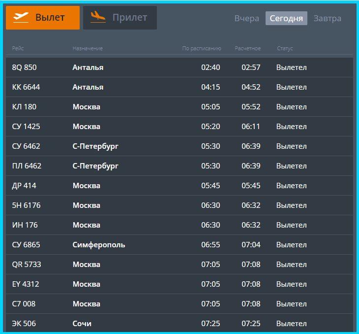 Онлайн-табло вылета из Челябинска