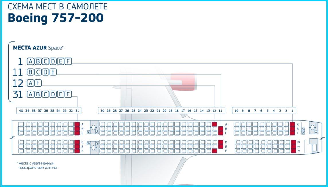 Расположение кресел Боинг 757-200
