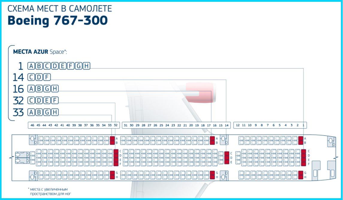 асположение кресел Боинг 767-300