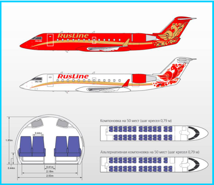 Схема самолетов РусЛайн