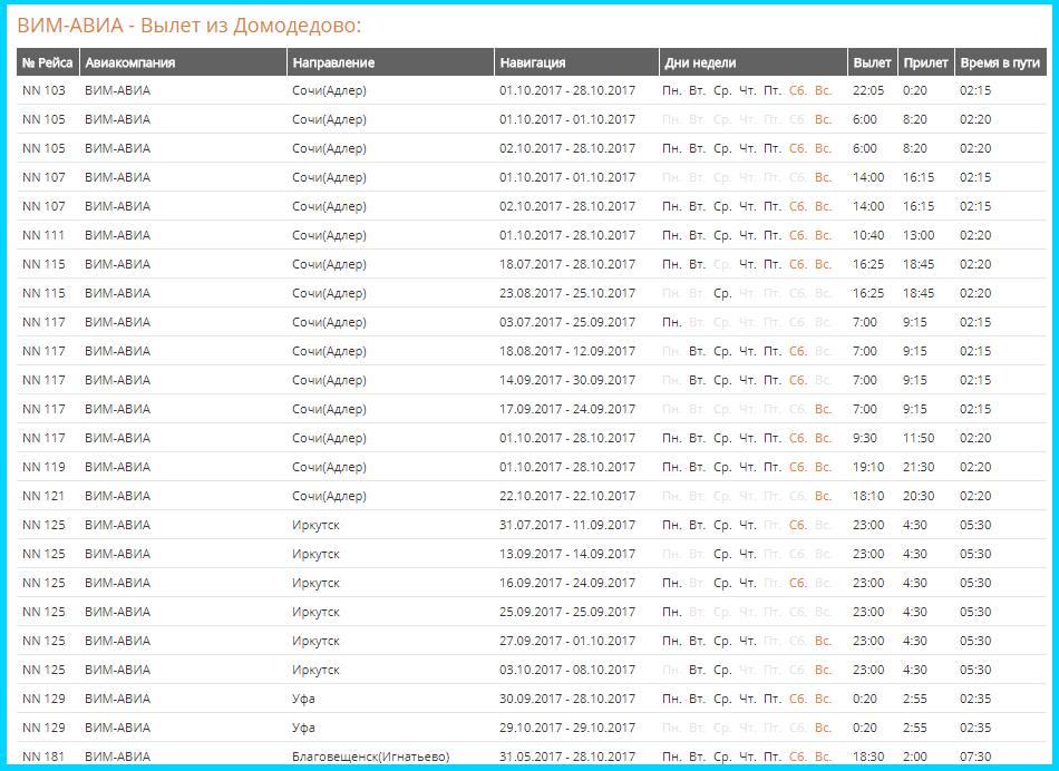 Расписание рейсов Домодедово