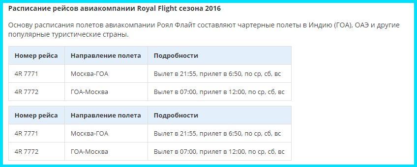 Расписание рейсов Роял Флайт