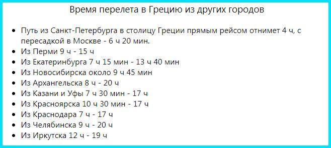 Время перелета в Грецию из разных городов РФ