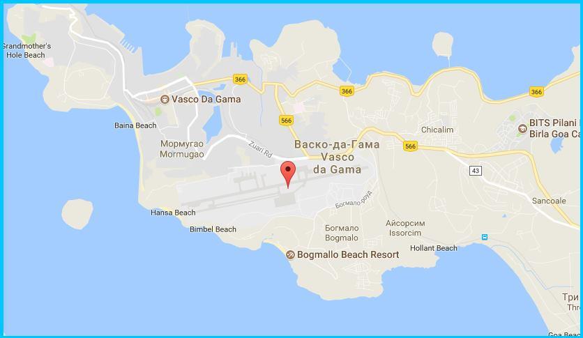 аэропорт Гоа на карте
