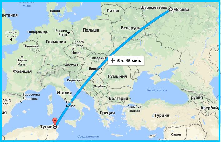 карта москва - тунис