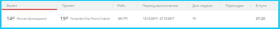 Москва — Тенерифе расписание