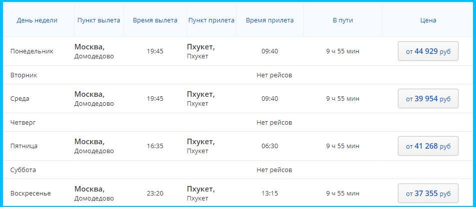 Расписание рейса из Москвы в Пхукет