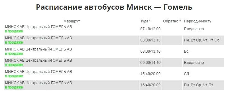 расписание автобусов Минск — Гомель