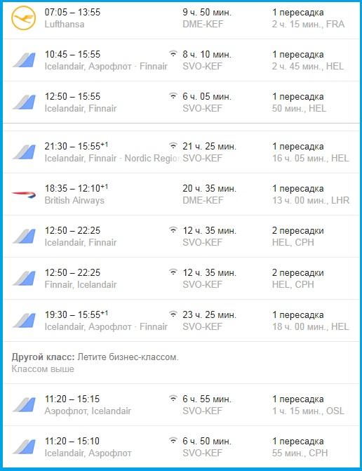 время перелета, авиакомпании