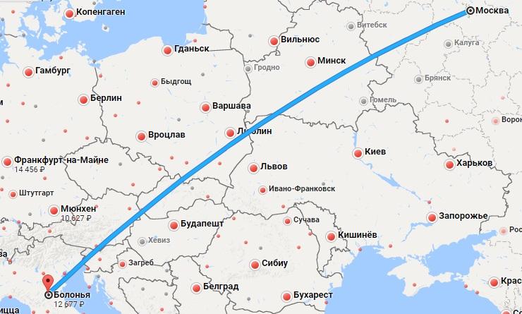 Авиабилеты Москва — Болонья