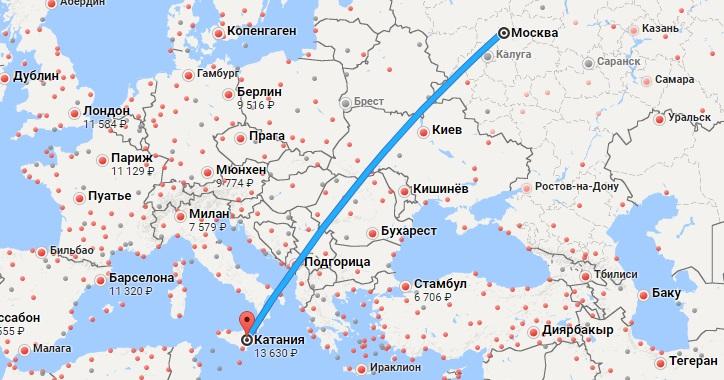 Авиабилеты Москва — Катания