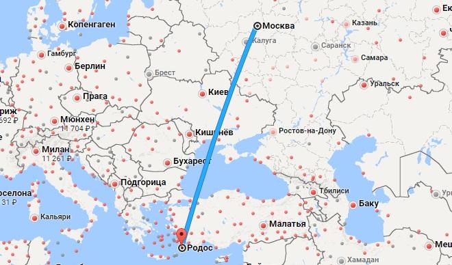Авиабилеты Москва — Родос