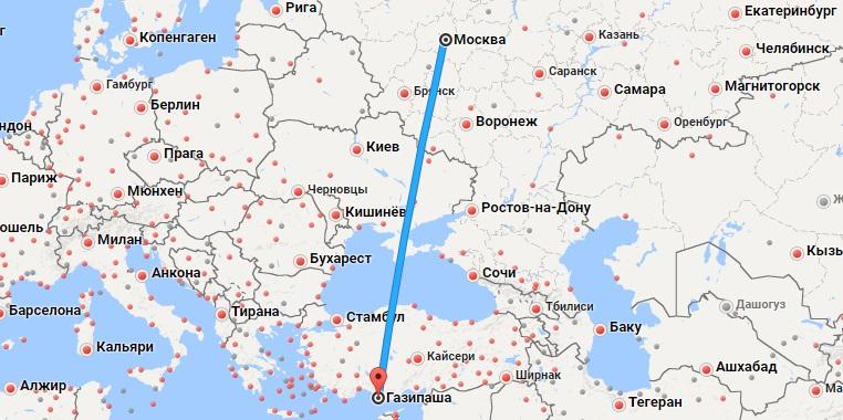 Авиабилеты Москва — Газипаша
