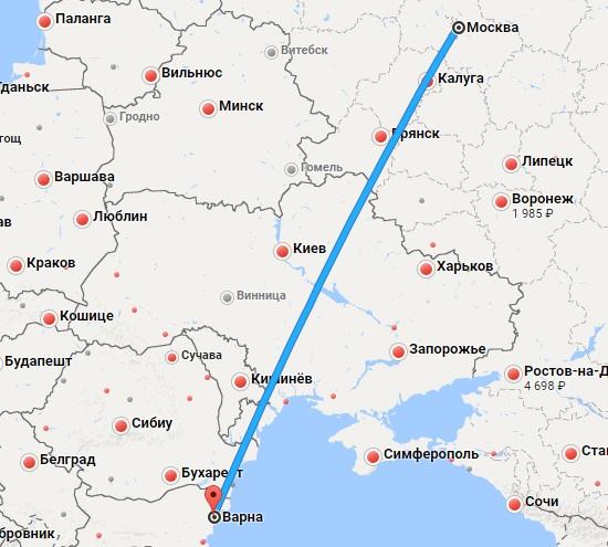 Авиабилеты Москва — Варна